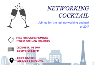 CCIFG LAST NETWORKING COCKTAIL OF 2017 – 6TH DECEMBER