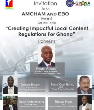 EBO-AMCHAM JOINT BREAKFAST MEETING ON LOCAL CONTENT: 1 DAY TO GO